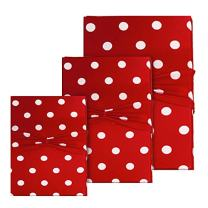 Cherry Red Polka Dot Gift Wrap - Reusable Stretchy Fabric & Eco Friendly- Set of 3 (1 Sm/ 1 Med/ 1 Lg) - Wrapping For Special Occasions - Use as Gift Bags Too!herGift