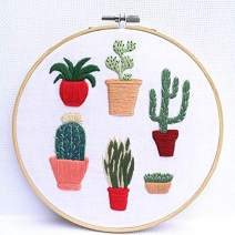 Khalee Full Set of Hand-Made Embroidery Starter Kit, Cross Stitch Kits for Beginners Including Patterned Embroidery Cloth, Plastic Hoop,Color Floss,Tools Kit(Plant 6, 6 Inches in Diameter)