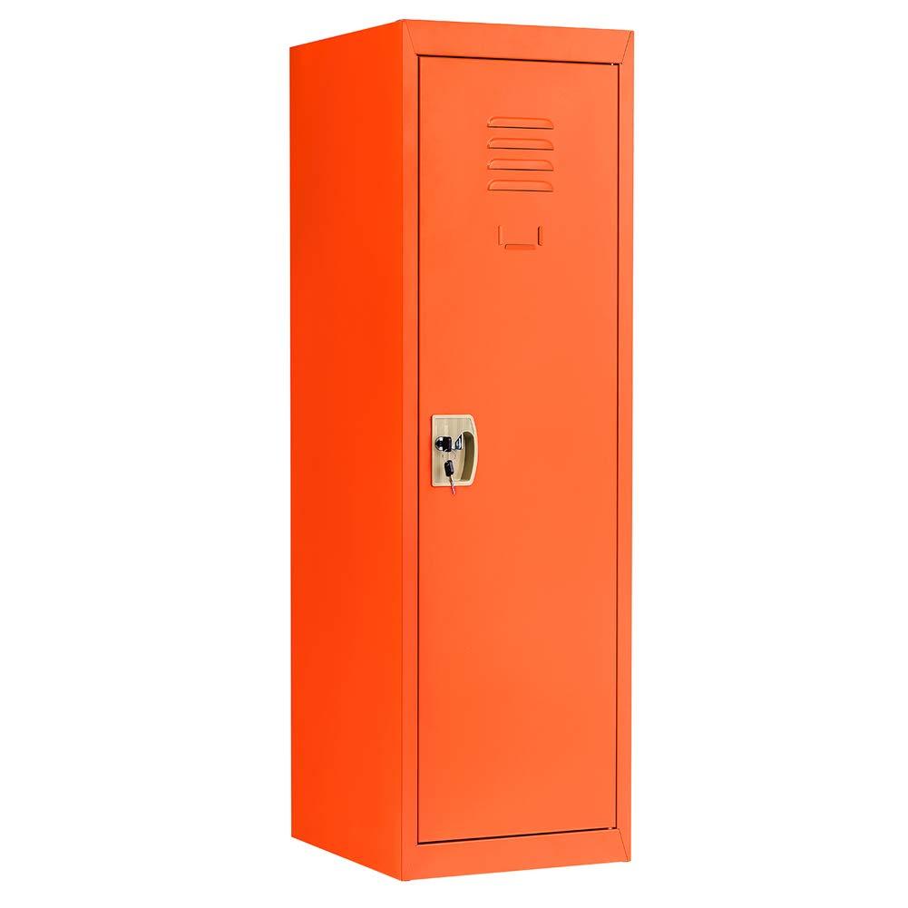 INVIE Kids Storage Metal Locker Single Tier Metal Locker for Home & School - with Key & Hanging Rods Orange
