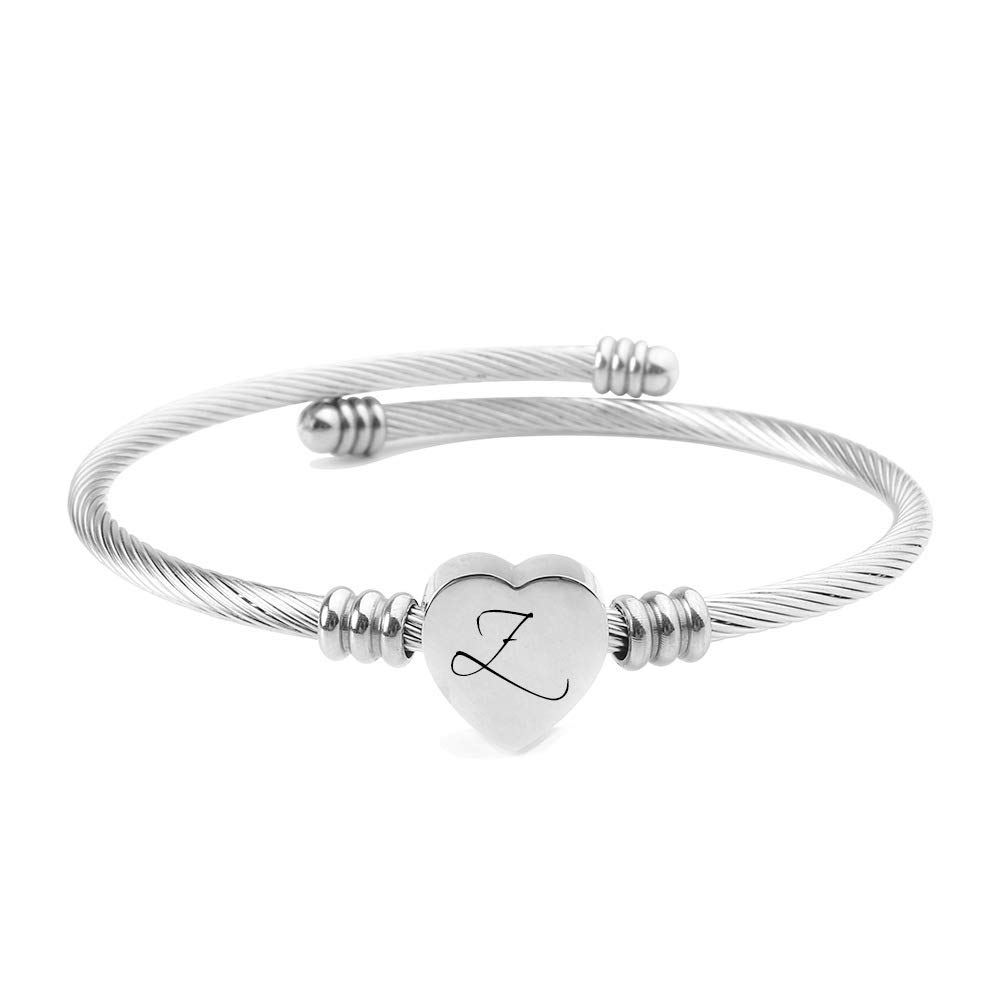 Bucmeilv Women Cuff Bracelets,Alphabet Heart A-Z Initial Name Letter Expandable Cuff Girls Bracelets Birthday Gifts, Girlfriends Gifts