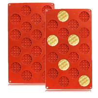 QELEG 18-Cavity Silicone Mini Round Waffle, Cookie, Chocolate, Candy and Gummy Mold-2 Pack