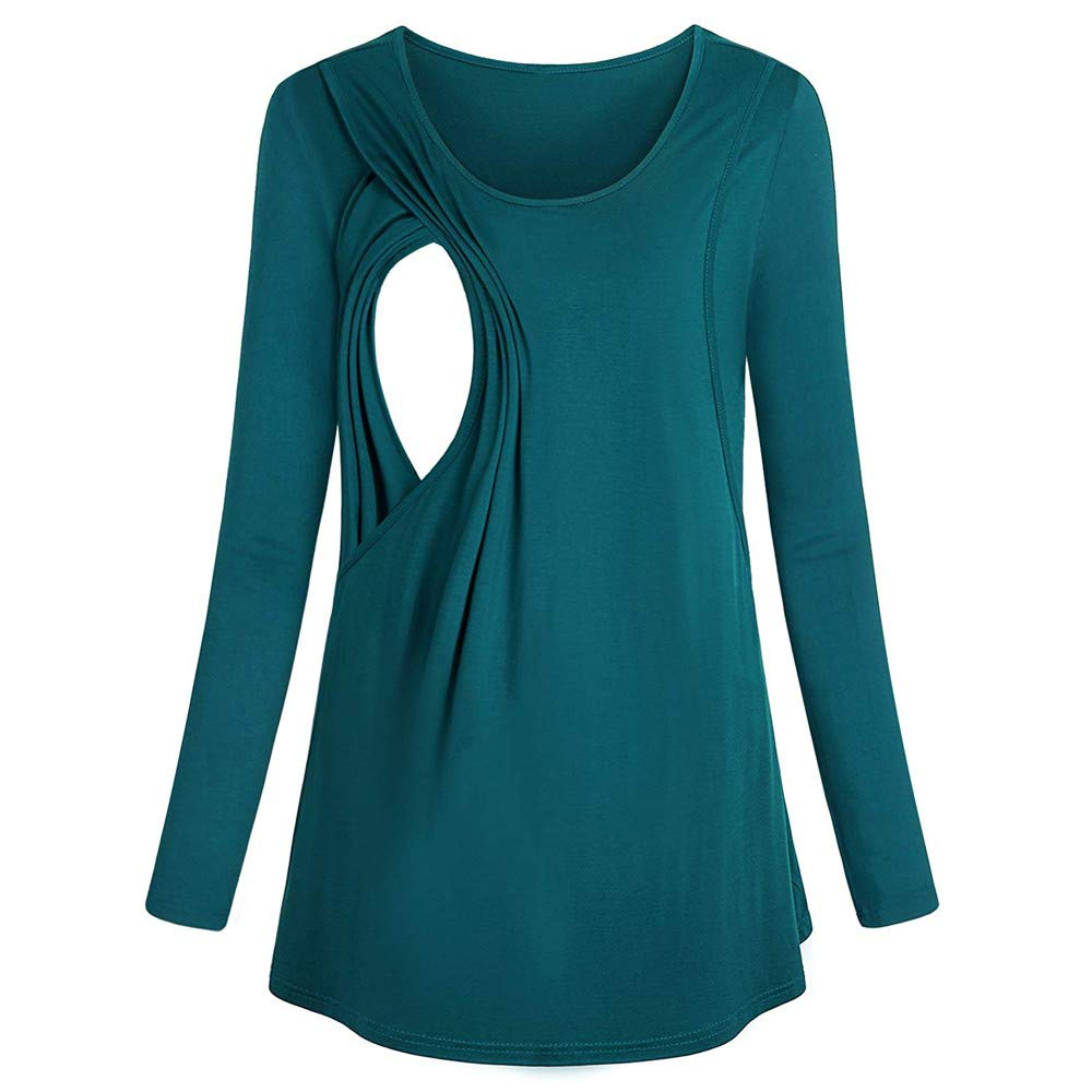 DOINSHOP Maternity Tunic Top for Wome Long Sleeve Layered Nursing for Breastfeeding Bouse