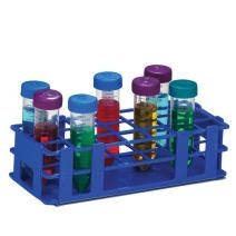 Bel-Art F18747-0004 No-Wire Test Tube Rack; 25-30mm, 21 Places, 9.7 x 4.1 x 2.5 in., Polypropylene, Blue