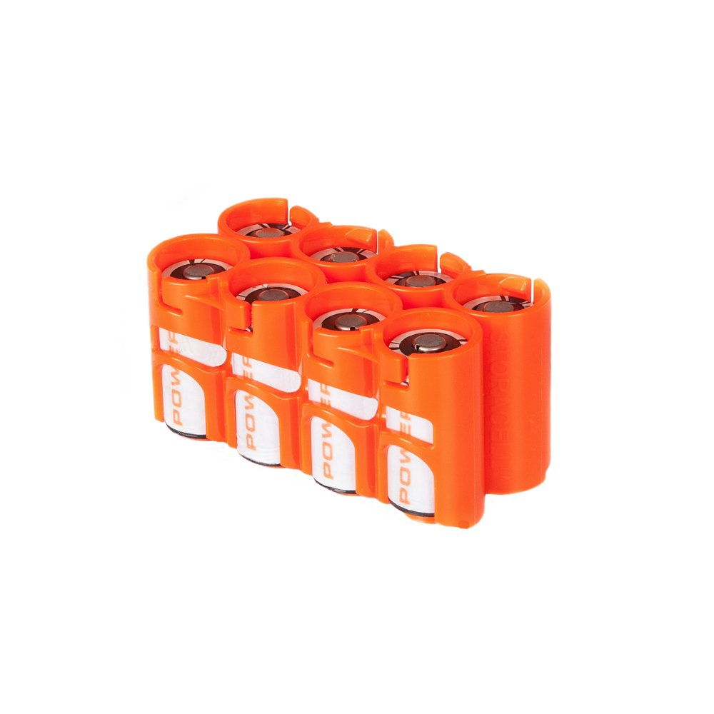 Storacell by Powerpax CR123 Battery Caddy, Orange, Holds 8 Batteries