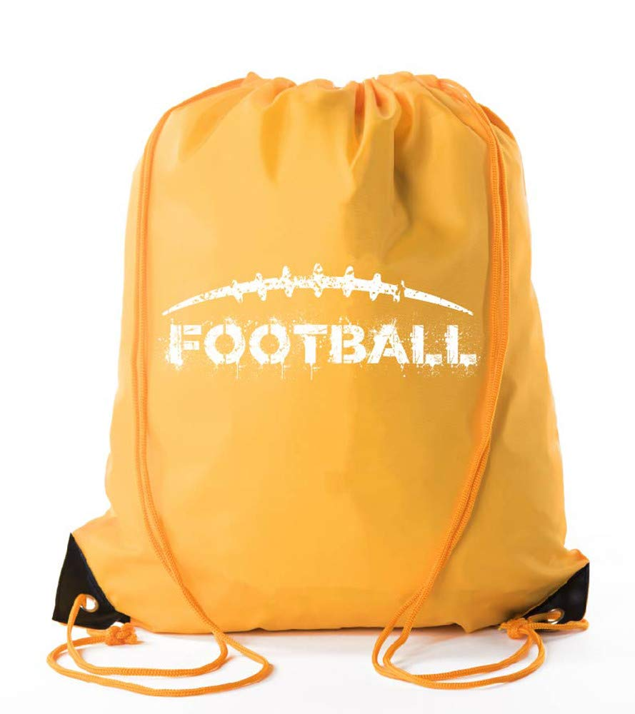 Football Party Bags  Football Drawstring Cinch Backpacks for Team Events, Birthdays, and More! - Athletic Gold CA2500FOOTBALL S2