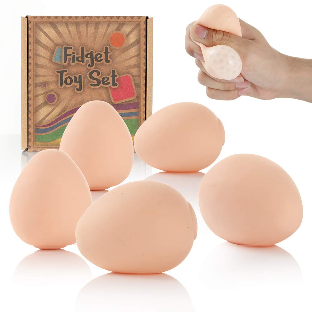 Fidget Stress Relief Balls - Hand Squeeze Calming Egg-Shape Sensory Ball Set for Kids and Adults to Reduce Stress & Improve Concentration - Party Favors & Novelty Gifts for Kids & Adults - 5pcs