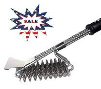 "BBQ Brush Bristle Free | Premium Stainless Steel Bristle Free Brush | 18"" Brush with 3 in 1 Grill Cleaning Head 