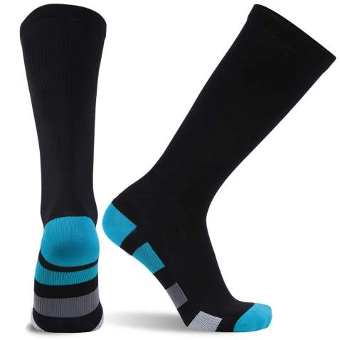 SuMade Compression Socks Arch Support, Running Maternity Travel Flight Womens Athletic Graduated 20-30 mmHg Comfortable Nursing Socks to Reduce Fatigue Swelling Edema 1 Pair (Black, S)