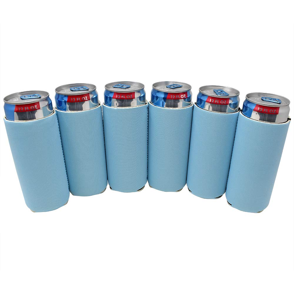 TahoeBay 12 Slim Can Sleeves - Blank Neoprene Beer Coolers – Compatible with 12oz RedBull, Michelob Ultra, White Claw Spiked Seltzer (Placid Blue, 12)