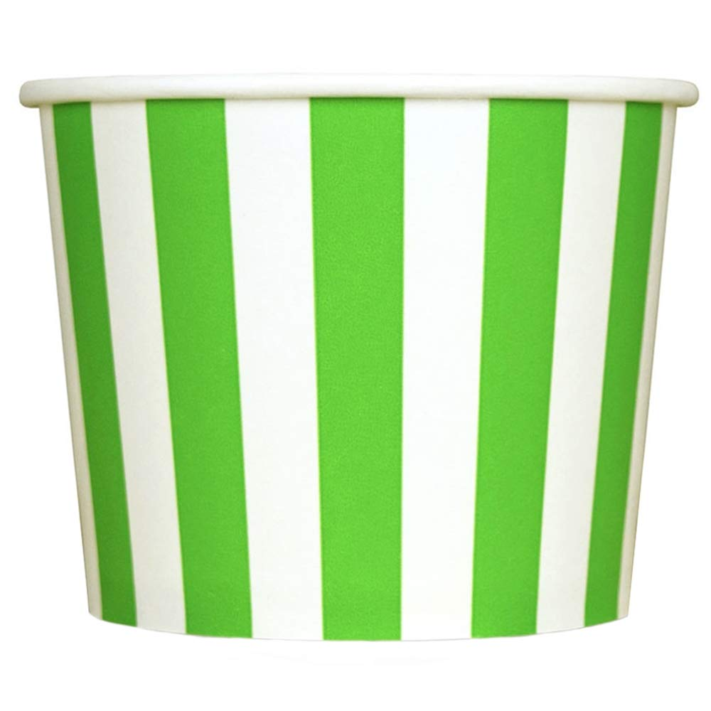 Green Paper Ice Cream Cups - 12 oz Striped Dessert Bowls - Perfect For Your Yummy Foods! Many Colors & Sizes - Frozen Dessert Supplies - 100 Count