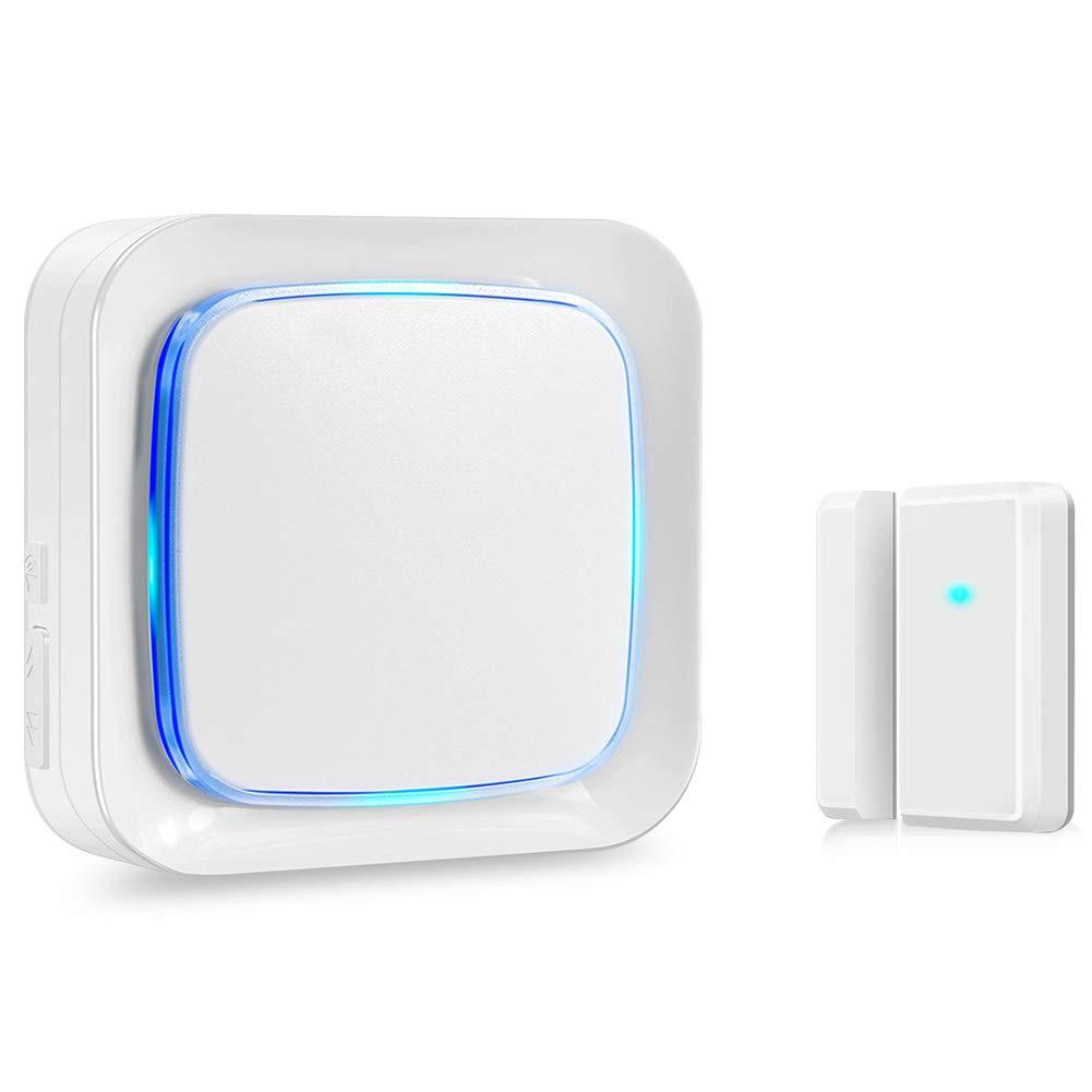 Door Sensor Chime Alarm System Wireless for Home Security, Coolqiya Entry Bell Alert 600FT Operating Range With 4 Volume Levels, 1 Door Sensor + 1 Plug-in Receiver(White)