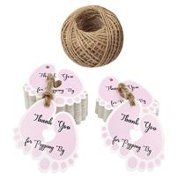 Original Design Thank You for Popping by Tags,Baby Shower Tags,100PCS Thank You Paper Gift Tags with 100 Feet Jute Twine (6x5.5 cm Pink)