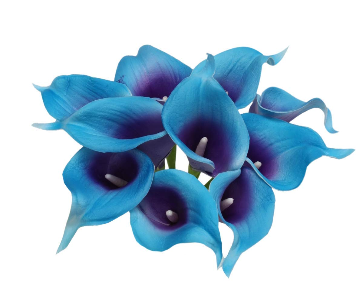 Angel Isabella 10pc Set Real Touch Calla Lily-Keepsake Artificial Flower Perfect for Cut to Make Boutonniere Corsage Bouquets (Blue Turquoise/Purple)