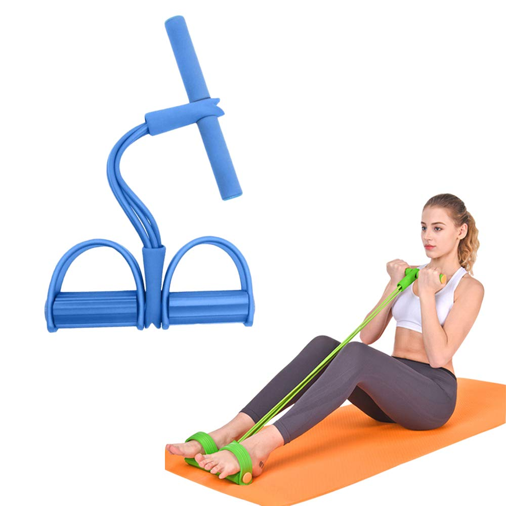 FSYEEL Multifunction Elastic Sit Up Pull Rope Abdominal Exerciser, 4-Tubes Pull Rope Sit-up Training Foot Pedal Resistance Bands Fitness Stretching Slimming Training Yoga Equipment