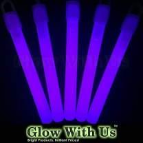 "Glow Sticks Bulk Wholesale, 50 4"" Purple Glow Stick Light Sticks. Bright Color, Kids Love Them! Glow 8-12 Hrs, 2-Year Shelf Life, Sturdy Packaging, GlowWithUs Brand…"