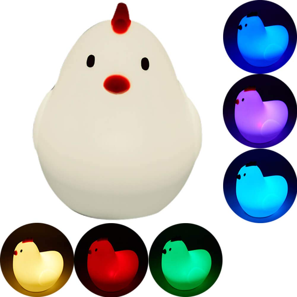 Creative Nightlight,Foruinvent Colorful Silicone Pat Lamp,Touch Control Breastfeeding Light,USB Charging,7 Color Light Mode,Rechargeable Lithium-Batteries,Desk Decor,Relaxing Toy,Child Gift (Chicken)
