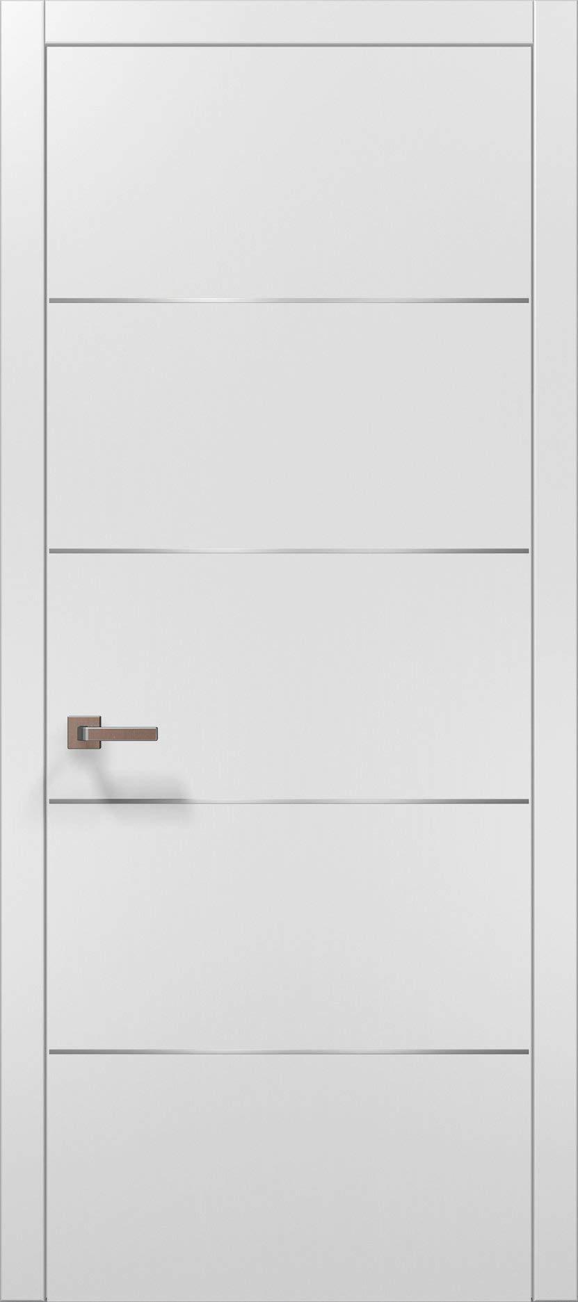 Pre-Hung White Modern Door 32x80 with Strips | Planum 0020 Matte White | Frame Trims Lever Satin Nickel Hardware | Closet Solid Core Door