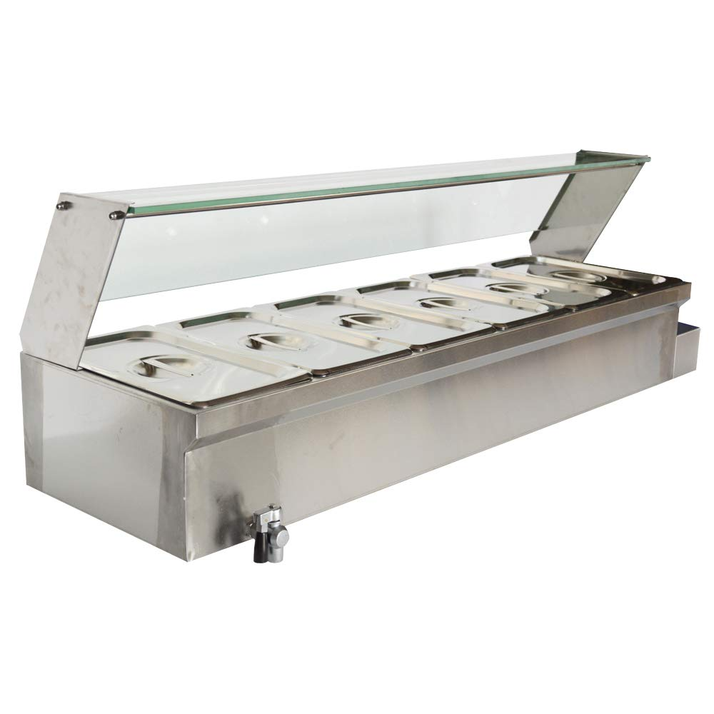 TECHTONGDA Food Soup Warmer Stove Bain Marie Commercial Canteen Buffet Steam Heater 12x5.5x6inch Pan with Glass Shield 6 Pan