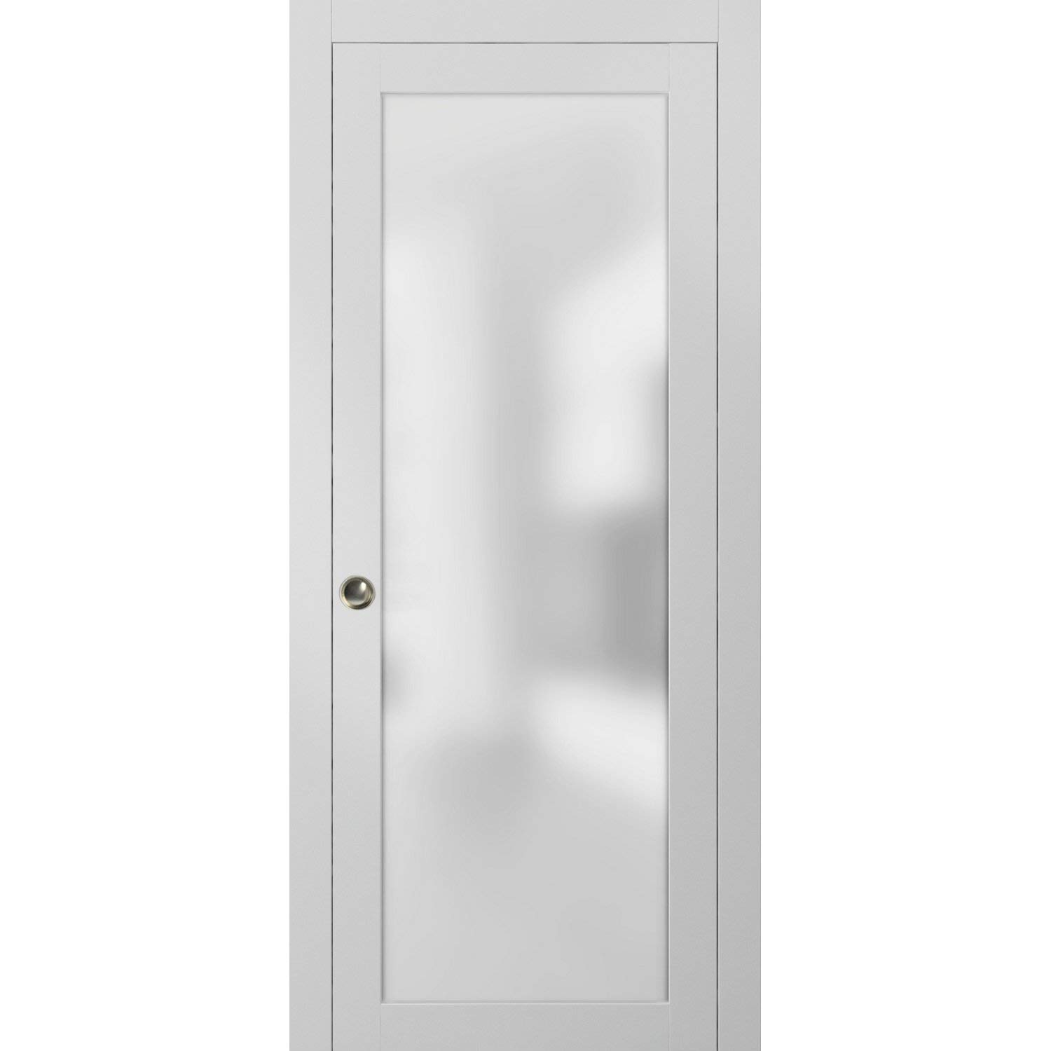 Frosted Glass Pocket Door 30 x 80 inches | Planum 2102 White Silk | Sturdy Heavy Frames Trims Pulls Track Hardware Set | Bedroom Bathroom Solid Wood Interior Slide Closet Panel |