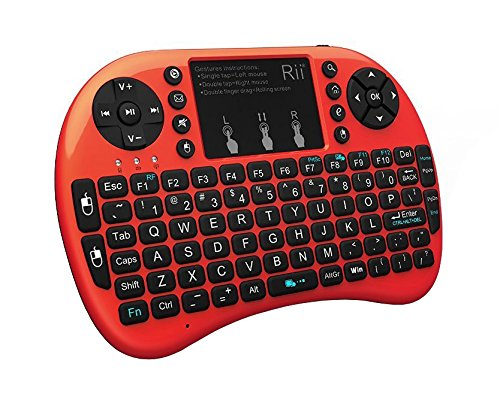 Rii 2.4GHz Mini Wireless Keyboard with Touchpad&QWERTY Keyboard,LED Backlit,Portable Keyboard Wireless for laptop/PC/Tablets/Windows/Mac/TV/Xbox/PS3/Raspberry Pi .(i8+ Red)
