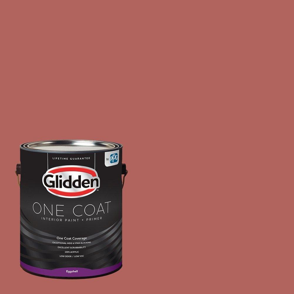Glidden Interior Paint + Primer: Red/Sienna Red, One Coat, Eggshell, 1-Gallon