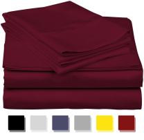 600-Thread-Count Best 100% Egyptian Cotton Sheets & Pillowcases Set - 4 Pc Burgundy Long-staple Combed Cotton Bedding Twin Sheet For Bed, Fits Mattress Upto 18'' Deep Pocket, Soft & Silky Sateen Weave