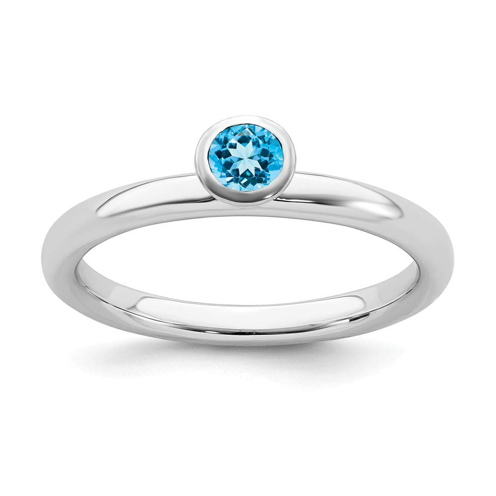 925 Sterling Silver High 4mm Round Blue Topaz Band Ring Stone Stackable Gemstone Birthstone December Fine Jewelry For Women Gift Set