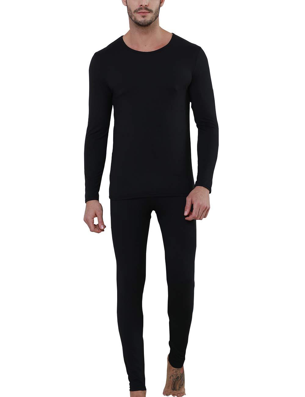 Thermal Underwear for Men Long John Set Thin Fleece Base Layer Ultra Soft Underneath Sleepwear Top and Pant