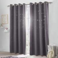 NICETOWN Twinkle Star Curtain for Nursery - Starry Night Sleep-Enhancing Cosmic Themed Curtain Stars, Draft Blocking Blackout Curtain Panel (1 Pack, W52 x L84 inches, Gray)