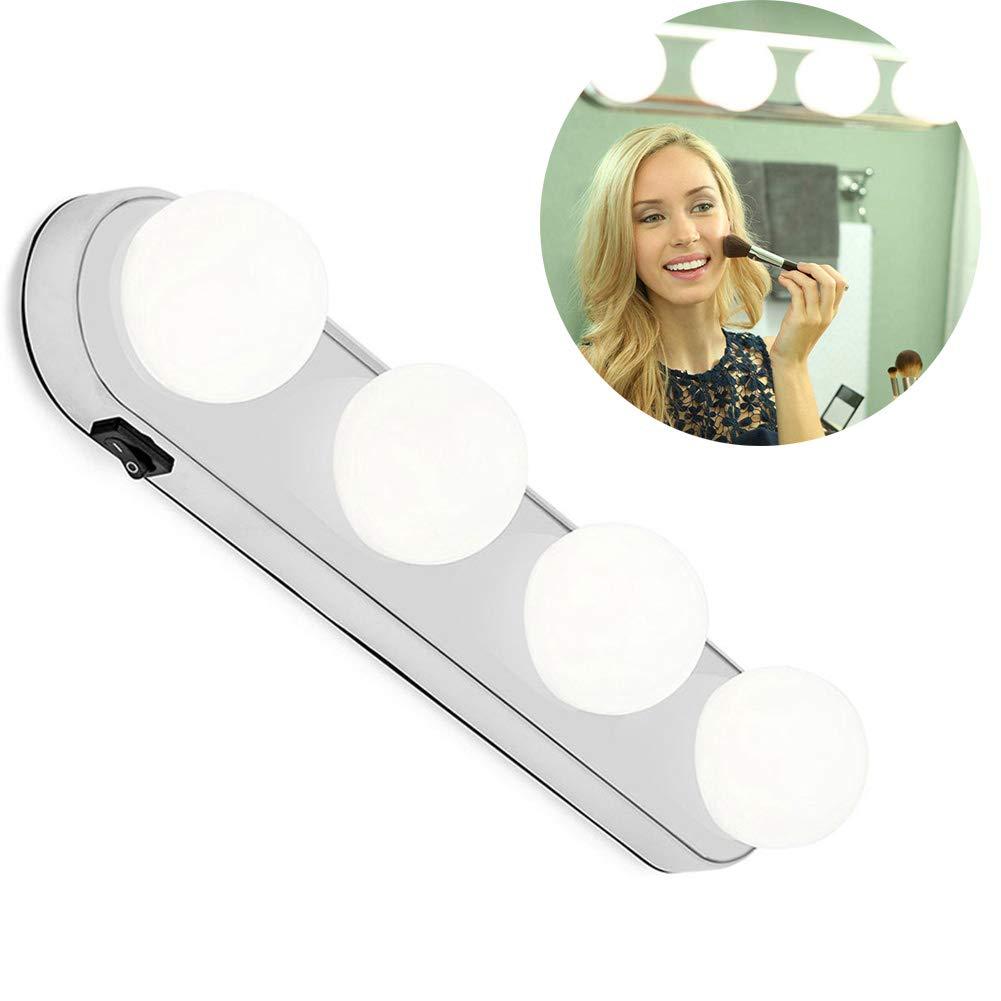 Leegoal LED Vanity Mirror Lights, Vanity Make Up Light Super Bright with 4 LED Bulbs Cordless Design Battery Powered for Bathroom, Makeup Dressing Table