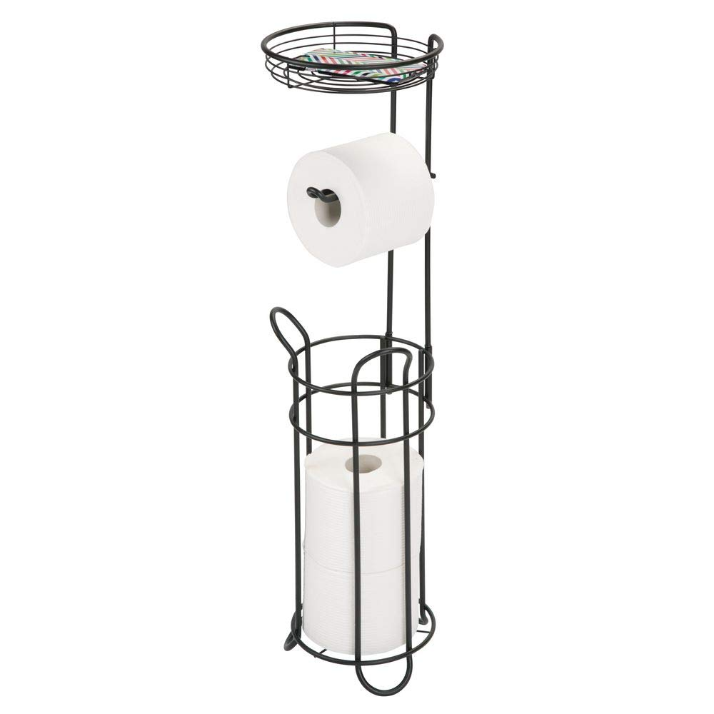 mDesign Freestanding Metal Wire Toilet Paper Roll Dispenser and Holder Stand for Bathroom Storage Organization - Top Round Storage Tray Shelf for Cell Phone, Book, Spray - Holds 4 Mega Rolls - Black