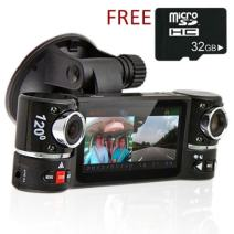 """inDigi Dual Camera Rotated Lens Car DVR w/ 2.7"""" Split LCD+Night Vision+Motion Activate"""