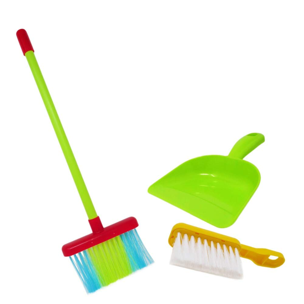 KIDSTHRILL Broom and Dustpan Set for Toddlers and Kids l Mini 3 Piece Cleaning Housekeeping Toys for Girls & Boys