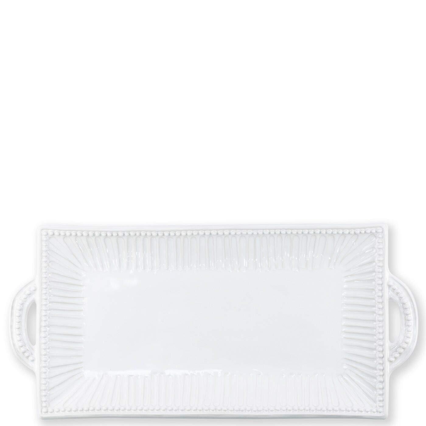 Vietri Incanto Stone White Stripe Rectangular Handled Platter