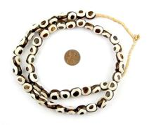 Batik Bone Beads - Full Strand of Fair Trade African Beads - The Bead Chest (Small, Inverted Eye Design)