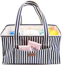 Simple Being Diaper Caddy Organizer, Canvas Style for Girl or Boy, Portable Storage Nursery for Baby Essentials (Blue Stripe)