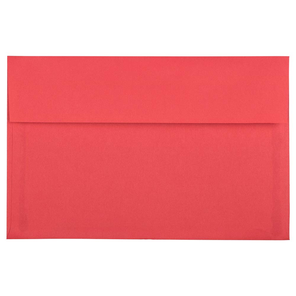 JAM PAPER A9 Colored Invitation Envelopes with Peel & Seal Closure - 5 3/4 x 8 3/4 - Red Recycled - 100/Pack