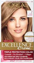 L'Oreal Paris Hair Color Excellence Non-Drip Creme Triple Protection, 7 Dark Blonde, 3 Count