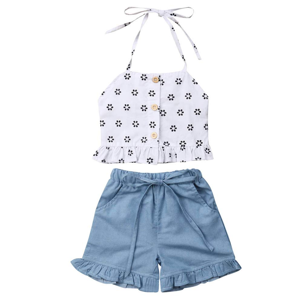 Toddler Kids Girl Clothes Sets Floral Sleeveless Shirt Top Denim Shorts Two-Piece Outfit
