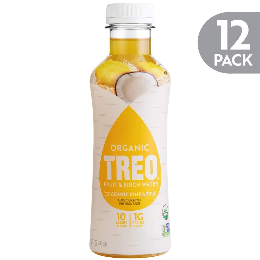 Treo Fruit & Birch Water Drink, Coconut Pineapple, USDA Organic, Non-GMO Project Verified, Vegan, Gluten-Free, 10 Calories & 1g of Sugar Per Serving, Good Source of Vitamin C, 16 fl oz, Pack of 12