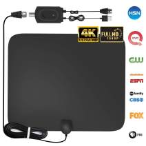 [2019 Upgraded] HDTV Antenna, Amplified HD Digital TV Antenna Indoor 60-80 Mile Range High-Definition with Amplifier Signal Booster for 4K 1080P Free TV Local Channels, 9.8ft Coaxial Cable