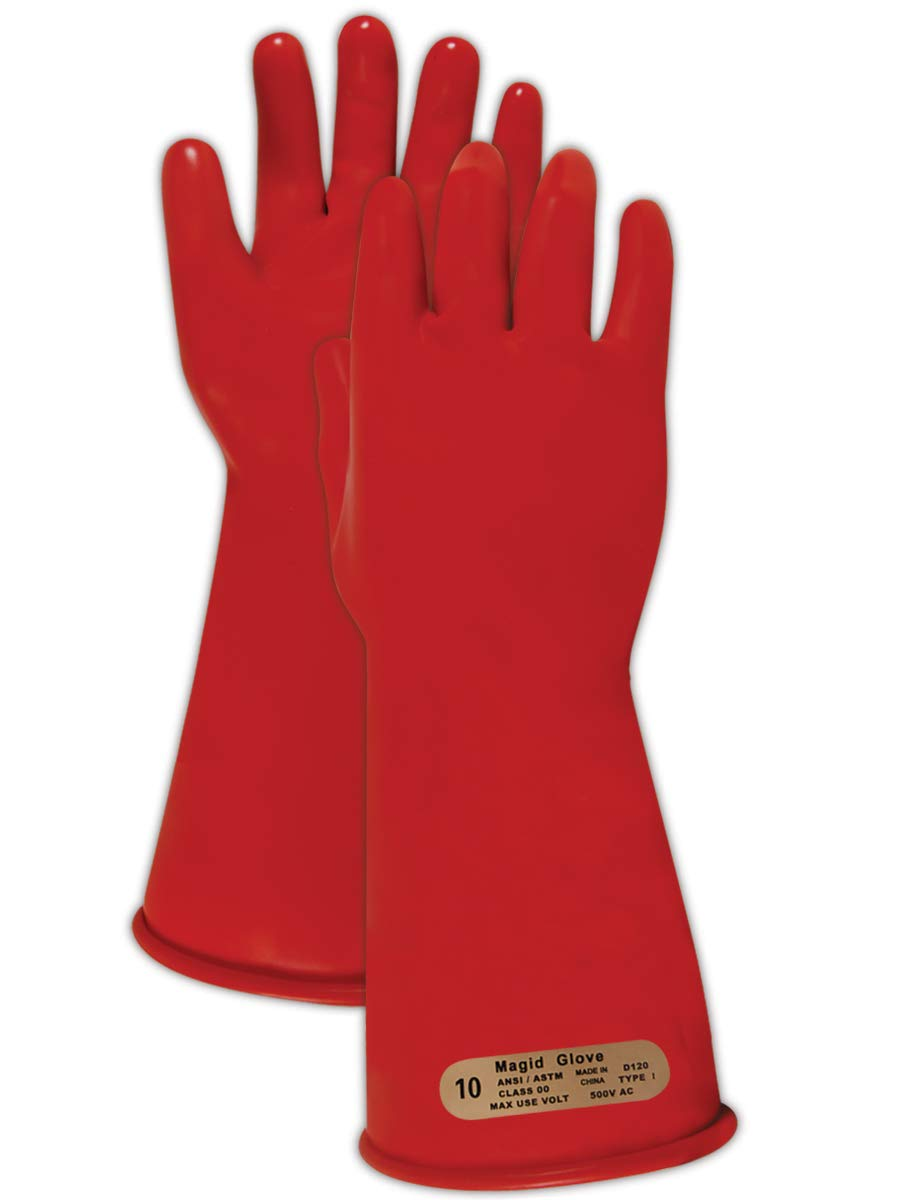 Magid Glove & Safety M-00-14-R-7 Magid Class 00 Electrical Gloves, Capacity, Volume, Rubber, 7, Red