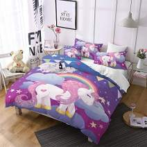 Jessy Home Unicorn Bedding 3 Pieces Full Size Cartoon Duvet Cover Kids Girls Cute Unicorn Quilt Cover Animal Pattern Rainbow Unicorn Duvet Cover +2 Pillowcase,Purple