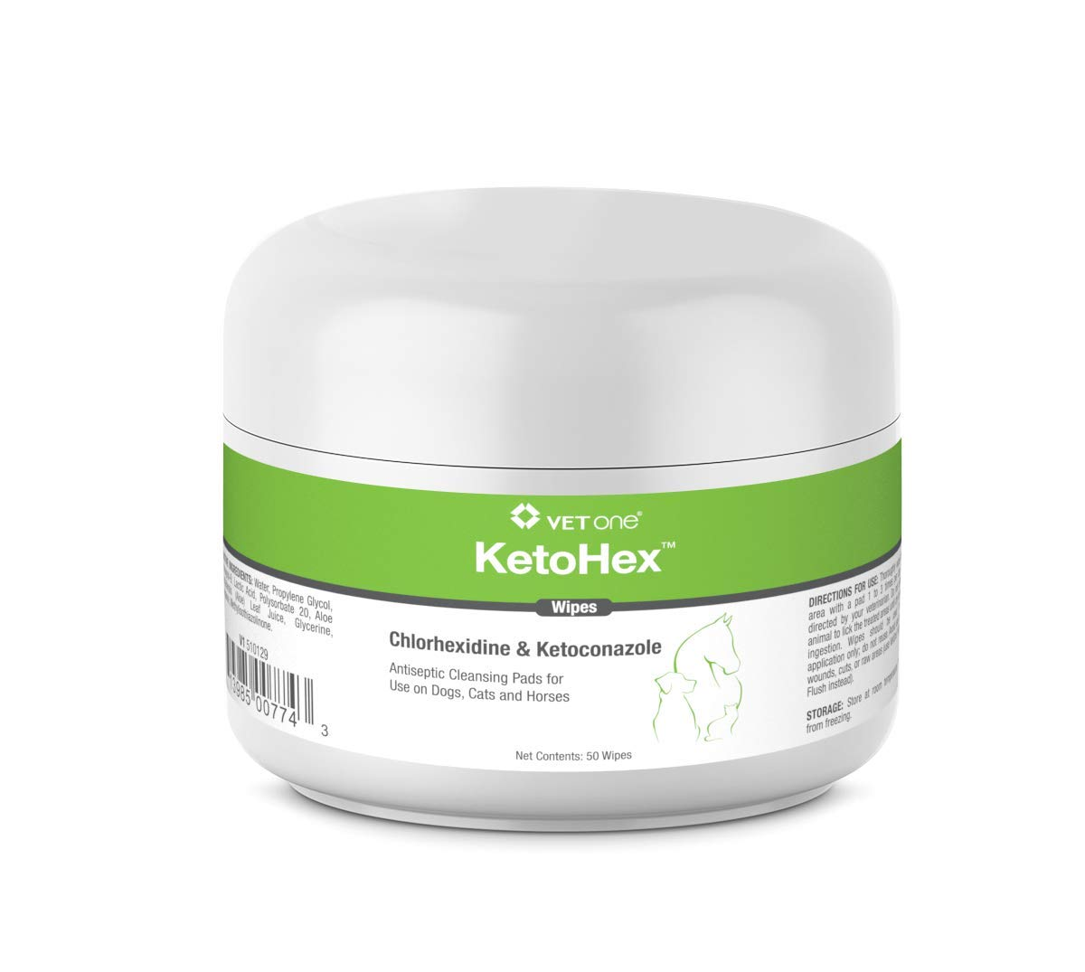 VetOne: KetoHex Antifungal & Antibacterial Veterinary Formulated Wipes for Dogs, Cats, Horses, 50-Count Jar
