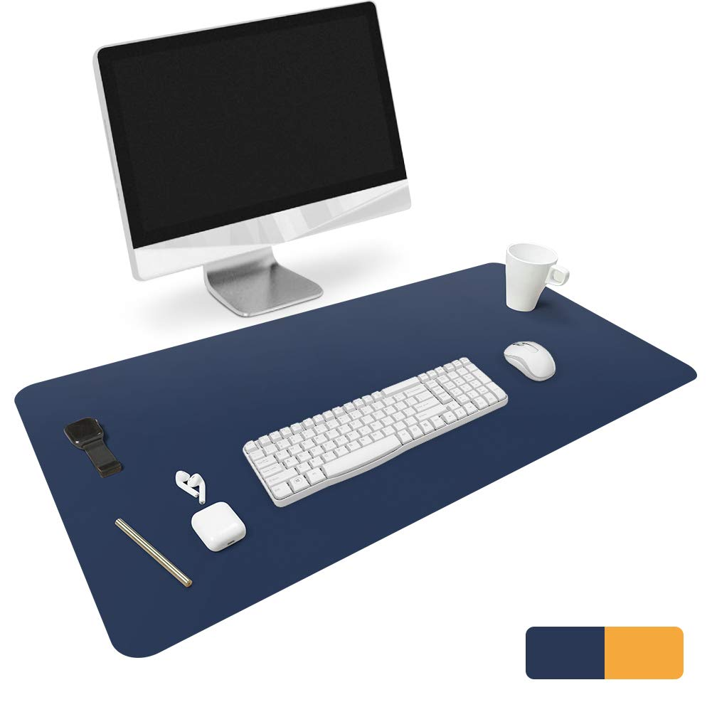 """HOMECAS Desk Pad,Office Desk Mat Blotter,35"""" x 18"""" Upgraded PU Leather Desk Protector Cover Large Mouse Pad, Waterproof Writing Mat for Office/Home/Computer,Dual Use (Blue & Yellow)"""