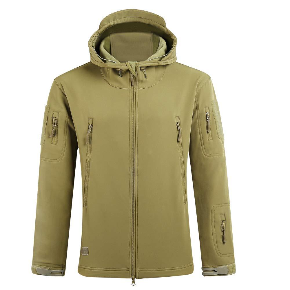 SAENSHING Men's Waterproof Military Tactical Jacket Softshell Hunting Jacket Combat Jacket Outdoor Hooded Coat