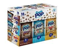 Snack Pop Candy Coated Popcorn Made with Real Candy Pieces Drizzled with Chocolate (NON GMO/Variety Pack/MM's 1 Oz bags), Snickers, Twix, M&M Minis, 16 Count