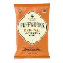Puffworks Organic Peanut Butter Puffs, Original | USDA-Organic | Gluten-Free | Vegan | Non-GMO | Kosher | Healthy Plant-Based Protein Snacks 3.5 oz (Pack of 3)