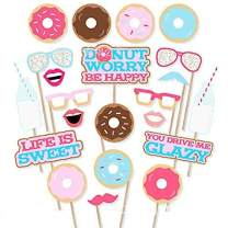 22Pcs Donut Photo Booth Props,Donut Time Party Decorations for Girl Doughnut Birthday Party Supplies