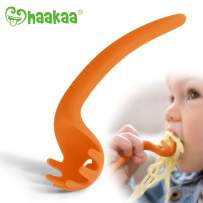 Haakaa Noodles-Fun Baby Spoons - Silicone Baby Training Spoons Toddlers Utensils for Baby Led Weaning Self Feeding, BPA Free (Orange)